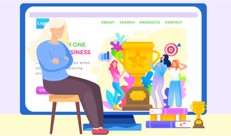 Woman business coach blogging. Be number one in your business, girls showing trophy got for winning first place. Trophy or award with target and arrow. Website or webpage template, landing page 向量圖像