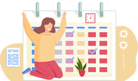 Joyful girl sits on her knees and raises her hands. Woman looking at plant in the pot. Timetable or a calendar on the background. Female character caring for a flower. Office work management