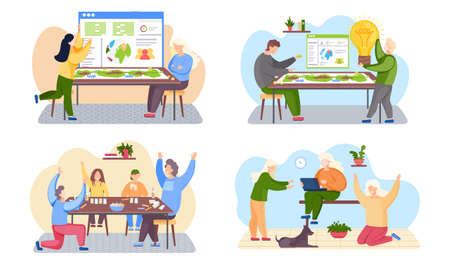 Set of illustrations on the theme of playing board game. Group of people is working from home with travel guide on the background. Man holding a light bulb in his hands. Freelance girls with laptop