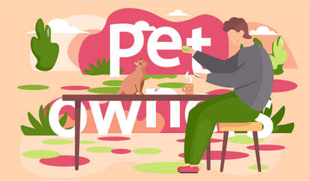 A boy is playing with a cat sitting on the table. Pet owner spend time at home with his domestic animal kitty vector design illustration. Man playing a board game with chips sitting on the bench
