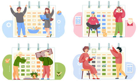 Set of illustrations on the theme of joint games and work. Timetable on background. Guy sitting with gamepad in his hands. Girl with laptop. Woman is playing cards. People raise their hands happily Stock Illustratie