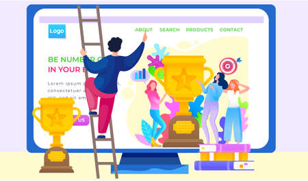 Be number one in your business, girls showing trophy got for winning first place. Trophy or award with foliage and target with arrow. Website or webpage template with a man climbing the stairs