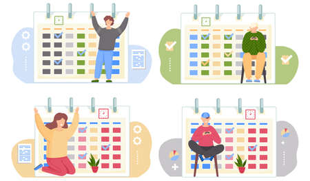 Set of illustrations on the topic of timetables and calendars. People playing and having fun. Guy sits with a gamepad in his hands. Man and girl happily raise their hands. Woman taking care of plant