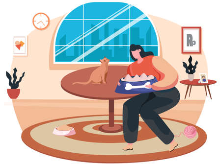 Happy woman pet owner feeding a cat. Female character spend time and caring of domestic animals at home. Friendship, leisure with little friends. Girl put food in kitten plate in living room interior Vettoriali