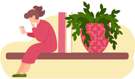 Pensive girl sits with cards in her hands. Woman thinks over the next move. Office work management. Female character sitting on a shelf next to a large potted plant. Person takes care of the flower