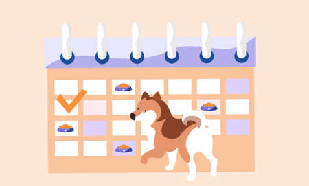 Animal care, dog feeding, cute spotted puppy next to the meal schedule with food bowls marked. Feeding schedule with bone marks, funny doggy on biege background, illustration in pastel colours