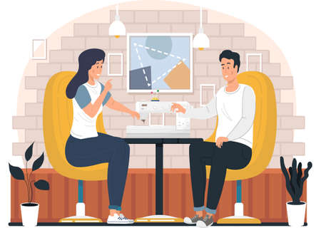 Seamstresses work with a sewing machine. Couple communicates in the studio. Designers are planning future garment. A guy with a girl spending time together. Tailoring to order for customers