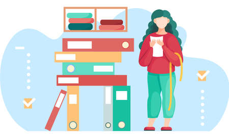 Woman standing near stack of folders preparing for measurements for future dress. Seamstress sews clothes to order for customers. Sewing workshop. Clothing marking. The girl works in the atelier Ilustración de vector