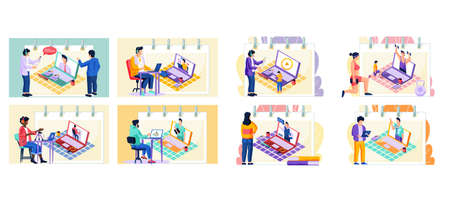 Man records a video lesson for student, set of eight scenes. Guy with headset talking to colleague. Teacher sits at a table with a laptop and speaks into a microphone, online learning modern education Иллюстрация