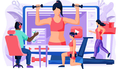 Athletes doing lunges with dumbbells in their apartment. People repeat exercises behind a girl trainer on a computer monitor. Sports online video blog. Guy in headphones looks at the screen