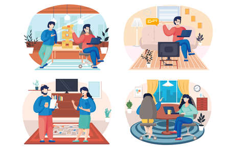 People at home, family members talking together in the room. Home livingroom with cozy interior. Characters man and woman communicating, discuss their issues, playing board games scenes set