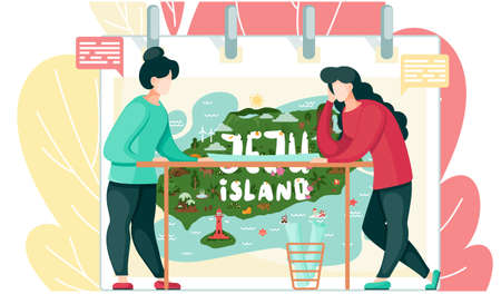 Women tourists are going on a trip, looking at the map for the travel to the south korean island Jeju. Mountaine with waterfalls, stone figures, tropical plants in botanical garden, asian village