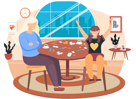 Friends having rest at home. The family spends time in different ways with board games on the table. Daughter and mom have a great time together vector illustration. Fantastic turn-based board game