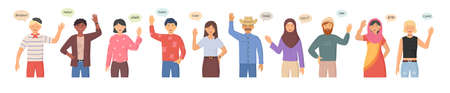 Multicultural group of people say hi. People greeting gesture. People of different nationalities and religions, cartoon characters. Multinational society. Different nations representatives waving hand