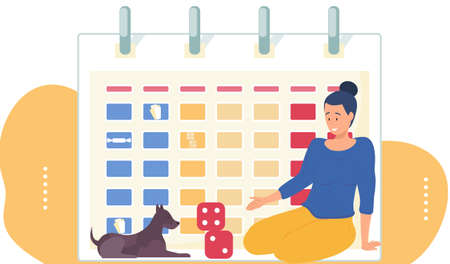 Woman playing with cubes and a dog. Timetable on the background. Girl is spending time with her pet. The owner looks at the puppy and works with it on schedule. Playing and interacting with animals