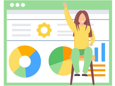 Happy girl sitting on a chair and raising her hand up. Adolescent learning activity indicators. Data analysis concept. Statistical graph with indicators. Billboard with inscriptions and a pie chart