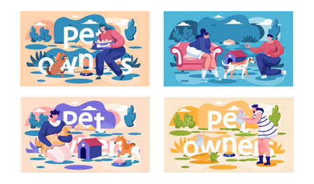 A set of illustrations on the topic of feeding and playing with pets. Owners are spending time with animals. People train their cats and dogs outside. Girl standing with a rabbit in her hands