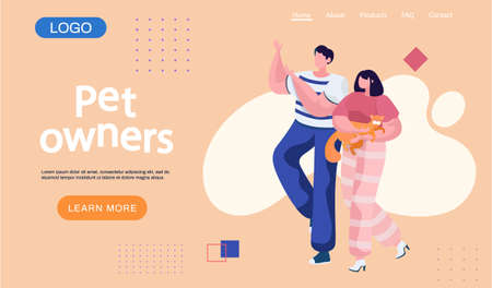 Couple pet owners holding ginger cat on hands landing page template. Happy people walking with kitten. Man and woman are having leisure spend time with domestic animal cute kitty, stroking him gently