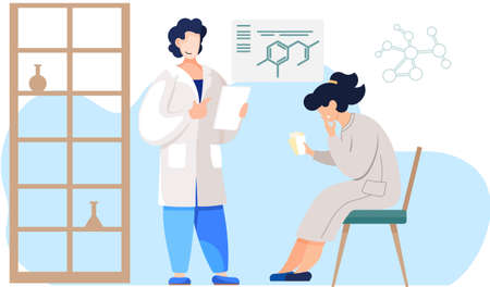 The girl is sitting with cards in her hands. A guy with a sheet of paper works in the field of chemistry. Man scientist working in laboratory. A woman is thinking over the next move in the game