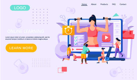 Fitness online course concept. People doing exercise at home in online classes landing page template. Regular sports, cardio and bodybuilding classes. Healthy lifestyle, active time spending