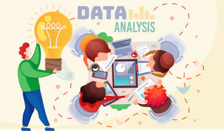Office workers are studying the infographic, the analysis of the statistical data with charts. Business people at a collective meeting check performance indicators, generate a new idea, brainstorming