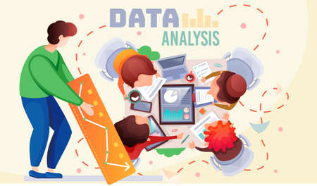 Data analysis teamwork. A team of analysts holds a meeting and develops a marketing strategy based on an analysis of the financial performance, diagrams of the enterprise. Businessmen brainstorming