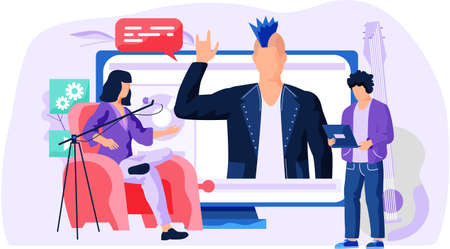 Woman talk to boy about a movie near the monitor. Man is pressing play button. A people stand and look at a rocker in a leather jacket. Girl sits in a chair next to the microphone vector illustration