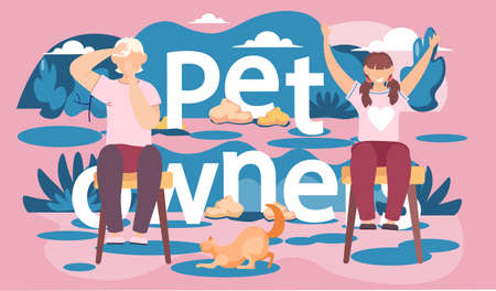 People are sitting on the chairs. Owners of the puppy resting on the street. Free time outing with a pet. Character are playing with small domestic animal. Children joyfully raise their hands up
