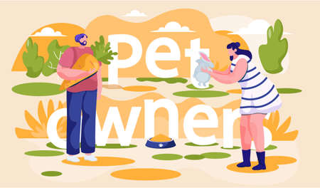 Girl plays with rabbit. Man holding a carrot for an animal. Guy is feeding the little hare. Young people spend time together with pet. Characters walking down the street. Pet ownership concept
