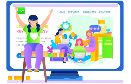 Application for studying business online landing page template. The girl is sitting on a chair and joyfully raising her hands up. Paid program for adult students. Internet school website layout Vectores