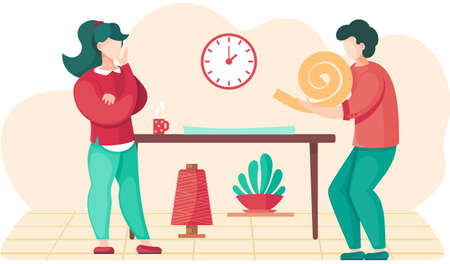 Girl looks at guy and drinks coffee. Man holding a spiral of fabric in his hands. Designers planning design of future garment. People communicate at work. Preparation for tailoring and making clothes