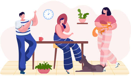 Friends play with animals in the apartment. Young people spend time together with their pets. Girl holding a ginger cat in her arms. Dog lying on the floor. Characters sit at home and communicate 矢量图像