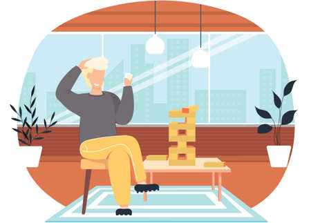 A man playing jenga at home at a table cartoon vector illustration cozy living room atmosphere in the evening. Male character won and raised his hands happily with a logic game on the weekend