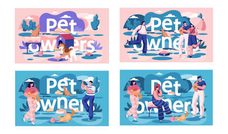 A set of illustrations on the topic of spending time with pets. Owners are playing with animals. People look at their cats and dogs. Couples are walking in the park with kittens in their arms