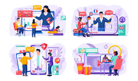 Set of illustrations on the topic of online learning. Online consultation with doctor. Woman explains new topic. Online geometry lesson. The teacher on the screen speaks english. Guy watching a movie