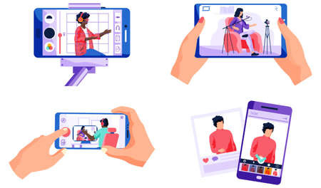 Set of pictures about different people, recorded on video on the phone. People use telephones to broadcast. A person is watching broadcast from purple smartphone in application vector illustration Ilustração