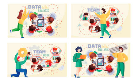 Data analysis teamwork scenes set. A team of analysts holds a meeting, develops a marketing strategy based on analysis of financial performance. Business meeting, consideration of working issues