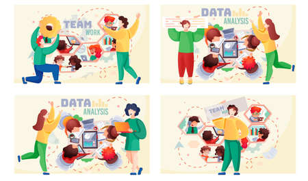 Data analysis teamwork scenes set. A team of analysts holds a meeting, develops a marketing strategy based on analysis of financial performance, diagrams of the enterprise. Businessmen brainstorming