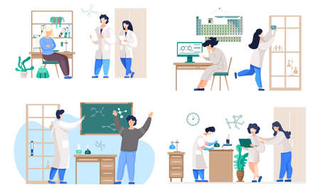 A set of illustrations on the topic of working with equipment. Chemical research in the laboratory. Girls experiment with flasks. Scientists communicate at school. People work with technology