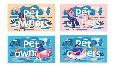 A set of illustrations on the topic of spending time with pets. Owners are playing with animals. People look at their cats and dogs. Man with ball of thread playing with kitten. Girl climbs the stairs