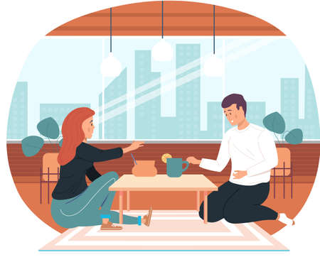 Couple drinking tea together at home. Girl treats and communicates with guy. Man spends time with his girlfriend in apartment. Self-medicating people spending time together at home vector illustration