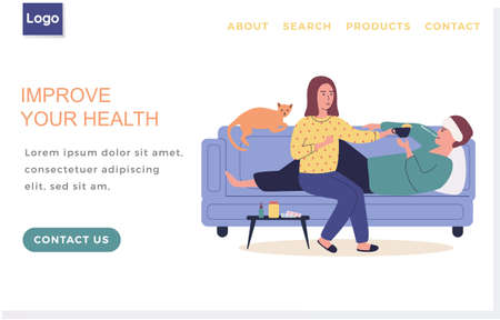Landing page template with sick people. Improve human health concept. Guy lies with thermometer and measures temperature. Girl giving tea to man. Male character lies with compress on his head