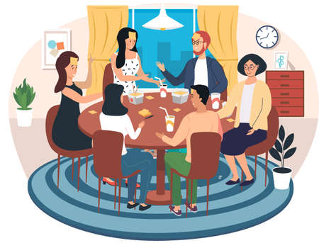 Group of people is playing table game and eats. Young characters communicate and spend time together. Friends are eating and playing in apartment. Male character guesses his role in board game