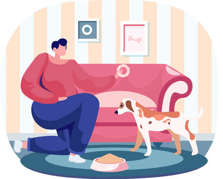 Pet owner woman playing with dog at home, takes care of him, funny girl training puppy, gives him donut. Female is having leisure spend time with domestic animal cute doggy, feeding dog food from bowl