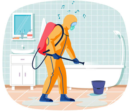Man in protective suit disinfects bathroom with spray gun. Prevention against spread of disease. Premise sanitization. Sanitary inspection worker disinfects bathtub. Person sprays liquid from cylinder