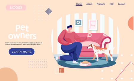 Pet owners landing page template. Woman feeding dog food from bowl at home, girl training puppy, playing with her little friend. Female is having leisure spend time with domestic animal cute doggy