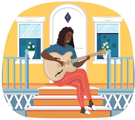 Woman sings song. Girl sits on doorstep of her house with guitar. Person creates music. Female character playing musical instrument. Musician plays strings on instrument. Guitarist resting on porch