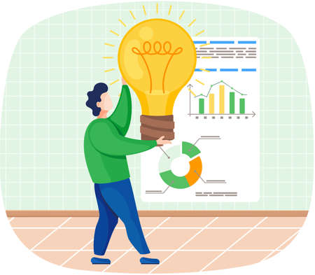 Man develops creative business idea holding bright light bulb standing near whiteboard with diagram. Male character with new innivation idea, business research, solutions, development growth strategy