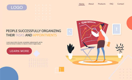 People successfully organizing their tasks and appointments landing page template, businesswoman draws schema on blackboard and planning. Time management and problem execution control, schedulling
