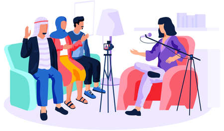 Arabs give an interviews. Woman recording a video from people. Man and woman are broadcasting in recording studio. Guy raises his hand to answer. Girl giving instructions to clients into microphone Stock Illustratie